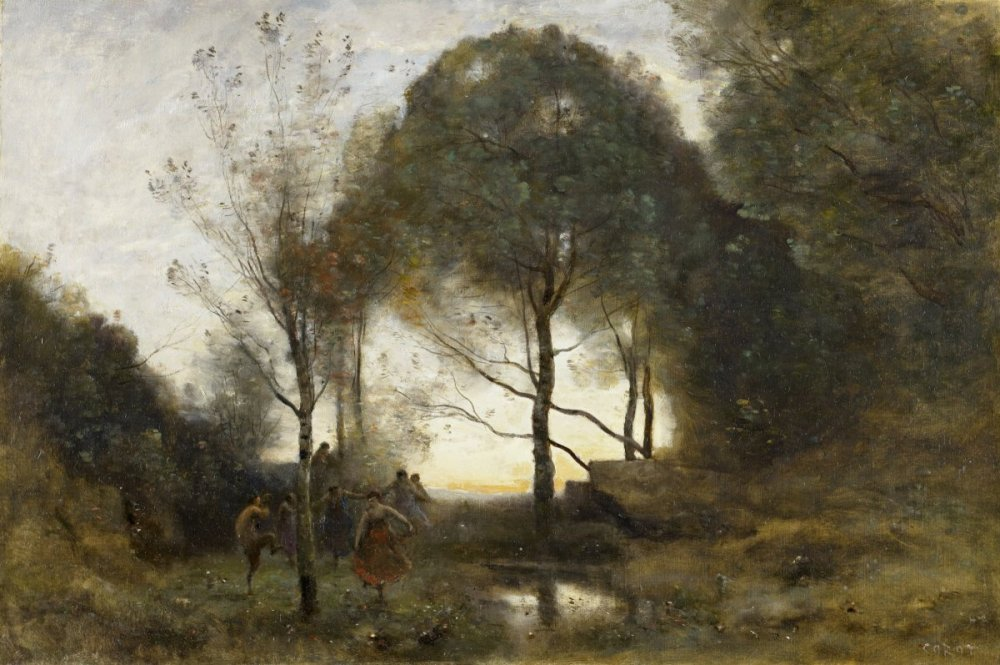 Faun and dancers in the woods